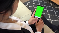 Green Screen Monitor On Mobile Phone Telephone Smarphone Businesswoman Woma.. Stock Footage