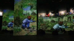 Interactive exhibition of Van Gogh paintings. 4K. Stock Footage
