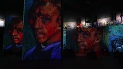 Interactive exhibition of Van Gogh paintings. 4K. Stock Footage