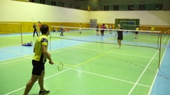 Badminton Courts With Players Competing Stock Footage