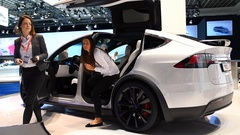 Tesla Model X all-electric, luxury, crossover SUV car Stock Footage