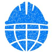Global Helmet Grainy Texture Icon Stock Illustration