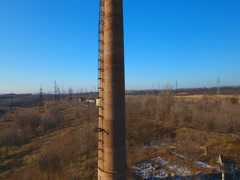 Factory chimney. Old crumbling pipe made of bricks. Stock Footage