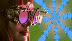 Colorful virtual reality simulation, steampunk goggles Arkistovideo