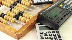 Retro calculators Stock Footage