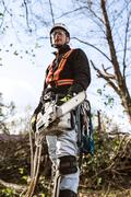 Lumberjack with chainsaw and harness going to prune a tree Stock Photos