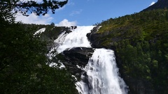 Waterfall at mountain river in summer Stock Footage
