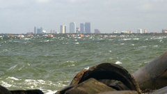 Rough Tampa Bay With Skyline In The Background Stock Footage