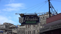 Sgnboard of the Floridita cocktail bar (the cradle of the daiquiri) in Havana Stock Footage