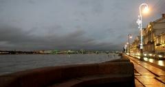 Palace embankment, Trinity bridge, frozen river, Saint Petersburg, Russia Stock Footage
