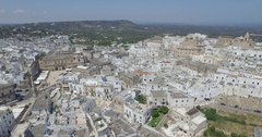 Aerial drone shooting on Ostuni Puglia Italy Stock Footage