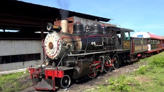 American origin Steam locomotive (Baldwin №1429) at the depot Stock Footage