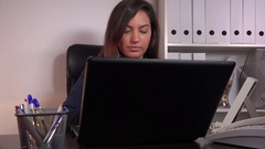 Business woman entrepreneur typing on laptop inside white office corporate job Stock Footage