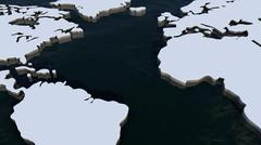 Atlantic Ocean and Continents Stock Illustration