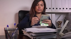 Successful business woman sales agent manager counting money happy good contract Stock Footage