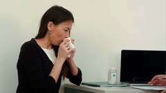 Sneezing sick female patient complaining to the doctor Stock Footage