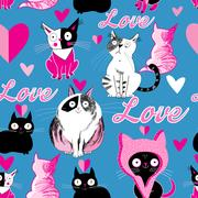 Seamless pattern cats in love Stock Illustration
