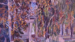 Painting Exhibition of paintings. Stock Footage