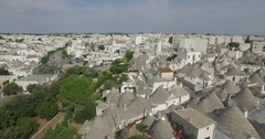 Aerial drone shooting on Alberobello Puglia Italy Stock Footage