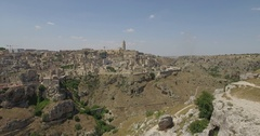 Aerial drone shooting on Matera Italy Stock Footage