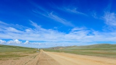 Clouds over the Gobi Desert, Mongolia. Full HD Stock Footage