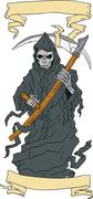 Grim Reaper Scythe Scroll Drawing Stock Illustration