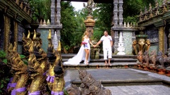 Wedding Ceremony in Asian Style Park in Thailand Stock Footage