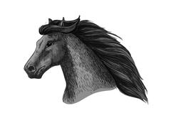 Horse head of running mustang vector sketch Stock Illustration
