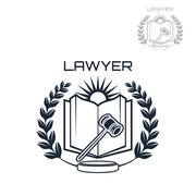 Lawyer vector emblem of wreath, book and gavel Piirros