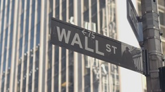 CLOSE UP: Famous Wall Street sign in Lower Manhattan New York financial district Stock Footage