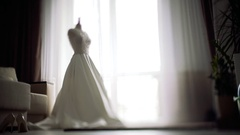 Wedding background. bride dresses middle of the room moving camera Stock Footage