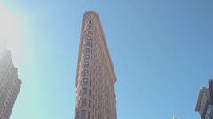 LOW ANGLE VIEW: Iconic Flatiron Building, a recognizable symbol of New York City Stock Footage