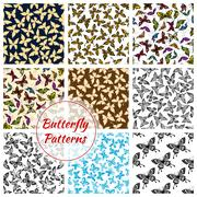 Butterflies and moth seamless patterns set Piirros