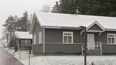 Wooden Cottages in a Snowy Forest Stock Footage