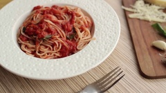 Italian Spaghetti Pomodoro and Ingredients Stock Footage
