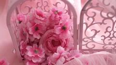 Pink Artificial Flowers Sakura Stock Footage