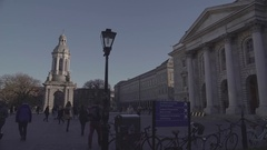 Dublin Trinity College Day View 4K Stock Footage
