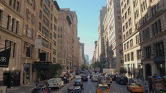 CLOSE UP: Rush hour traffic jam on 5th Avenue and crowded streets of New York Stock Footage
