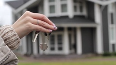 Woman's Hand Showing Keys in a Large Country House Stock Footage