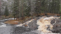 Karelia. Small Waterfall in the Forest Stock Footage