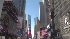 CLOSE UP: Famous Times Square with impact brilliant color flashing images ads Stock Footage