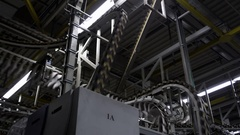 Conveyor belts in newspaper printing plant Stock Footage