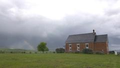 Pioneer Western Ghost Town Brick House Rainbow Stock Footage