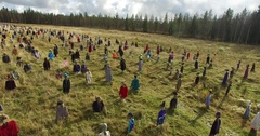Cinema 4k circling aerial view of the silent people field, in suomussalmi, .. Stock Footage