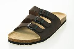 Men leather sandal and flip flop shoes Stock Photos