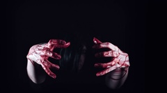 4K Horror Creepy Woman Holding Hands in Blood Stock Footage