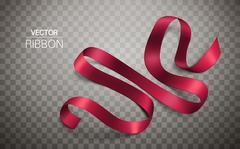 Folded red ribbon Stock Illustration