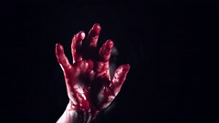 4K Horror Creepy Woman Showing Bloody Hand Stock Footage