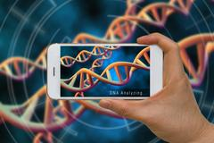 Augmented Reality or AR Technology of DNA, Chromosome, Gene, Analysis Conce.. Stock Photos