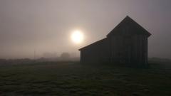 Pioneer Western Ghost Town Barn in Fog Stock Footage